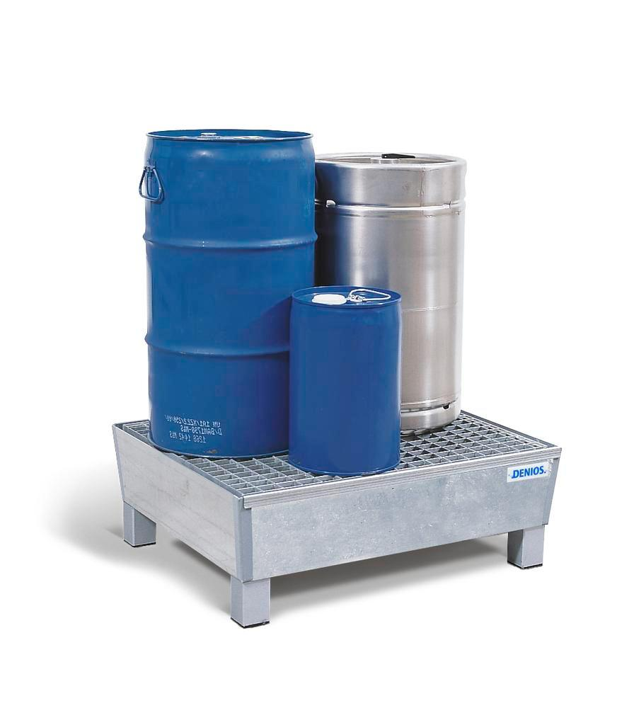 Sump pallet Basic K, galvanized steel, with feet & grid, for 2x60 litre drums, 60 litre capacity