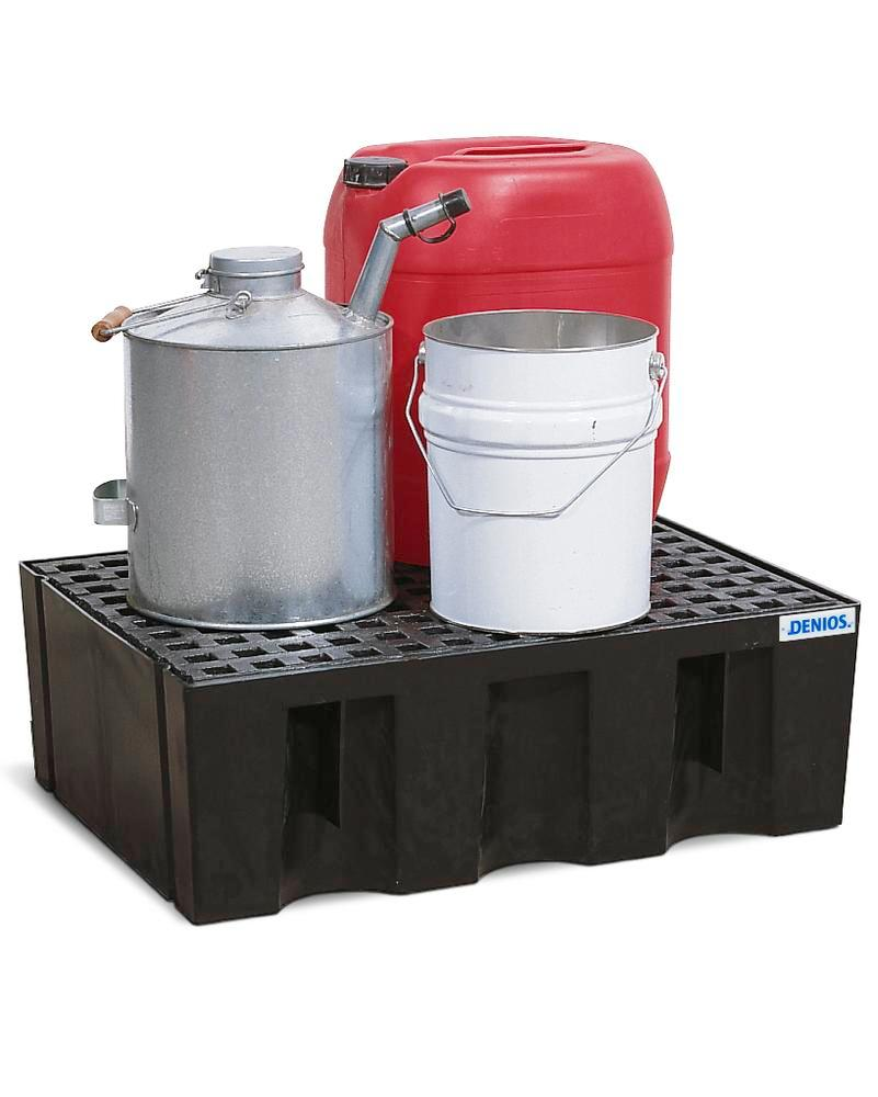Sump pallet PolySafe Euro, polyethylene, with PE grid, for 2x60 litre containers, 70 litre capacity