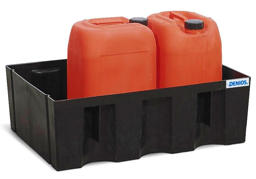 Sump pallet PolySafe Euro, polyethylene, without grid, for 2x60 litre containers, 70 litre capacity