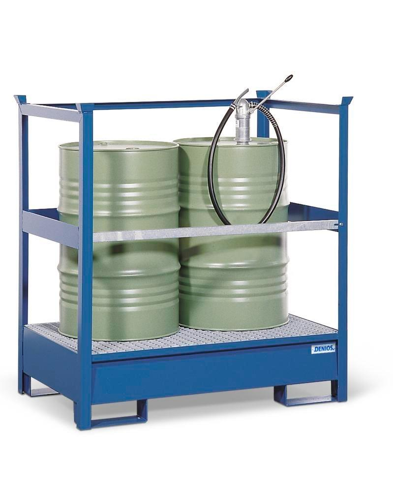 Drum storage unit 2 P2-R, painted steel, stackable, for 2x205 litre drums