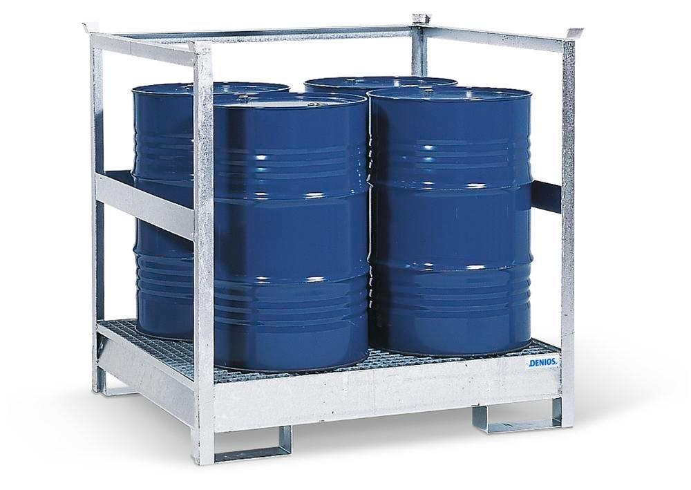 HazMat station 4 P2-R in steel, galvanised, for 4 x 205 litre drums, with frames, stackable