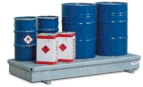 Spill pallet classic-line in steel for 3 drums, galvanised, with grid, 2082x1028x235-w280px