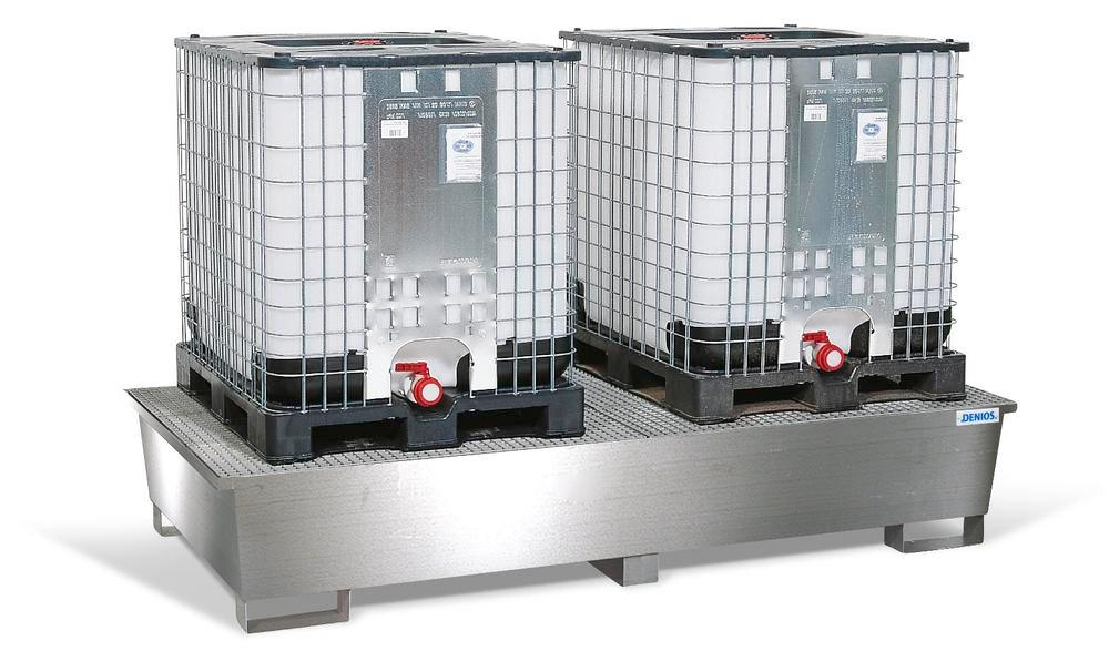 Spill pallet pro-line in st steel for 2 IBCs, with galv. grid