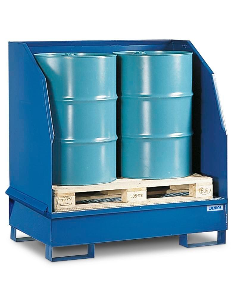 Sump pallet with 3 sides 2GST-K, painted steel, 3 sided spray protection, for 2 x 205 litre drums