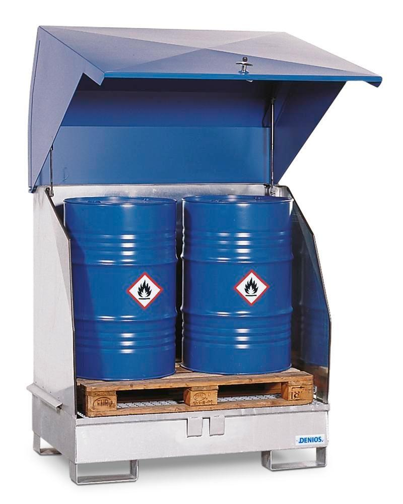 Galvanized HazMat station, 2 GST-KS, galvanized, for 2 x 205 ltr drums, with natural ventilation