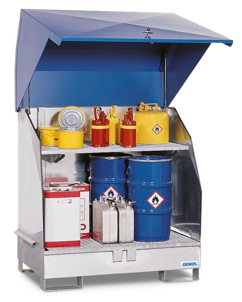 Galvanized HazMat station, 2 GST-KS, galvanized, with natural ventilation, with 1 grid shelf