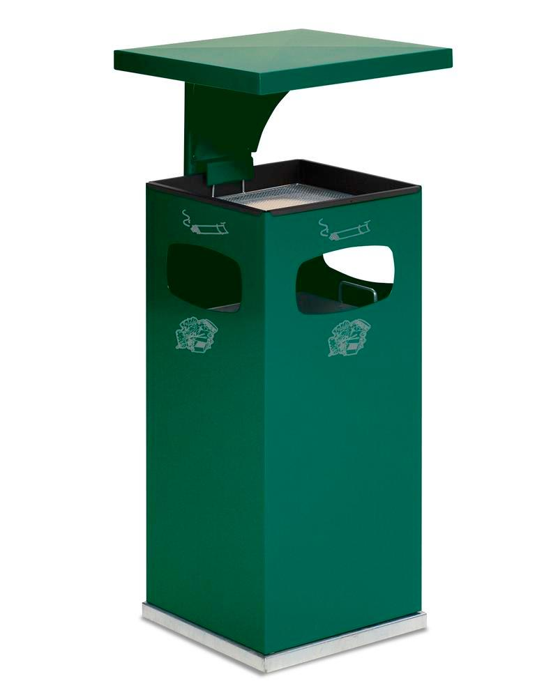 Combi waste bin / ashtray in steel, with removable cover f weather protection, 38l volume, green