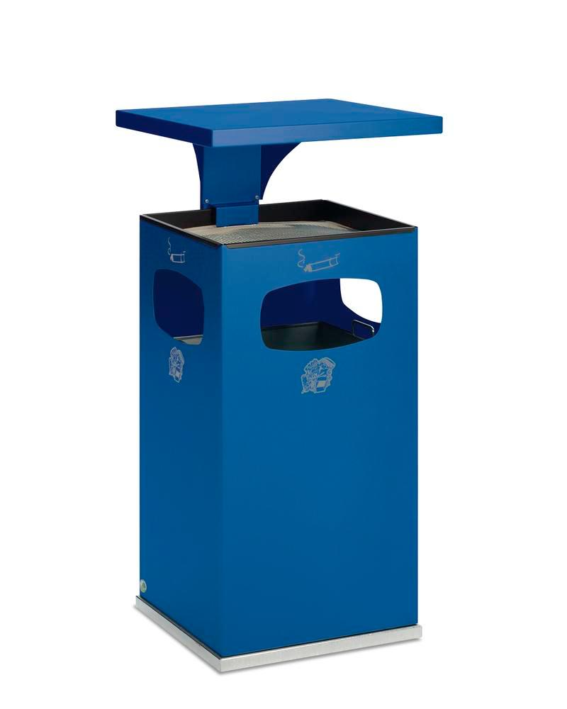 Combi waste bin / ashtray in steel, with removable cover f weather protection, 72l volume, blue