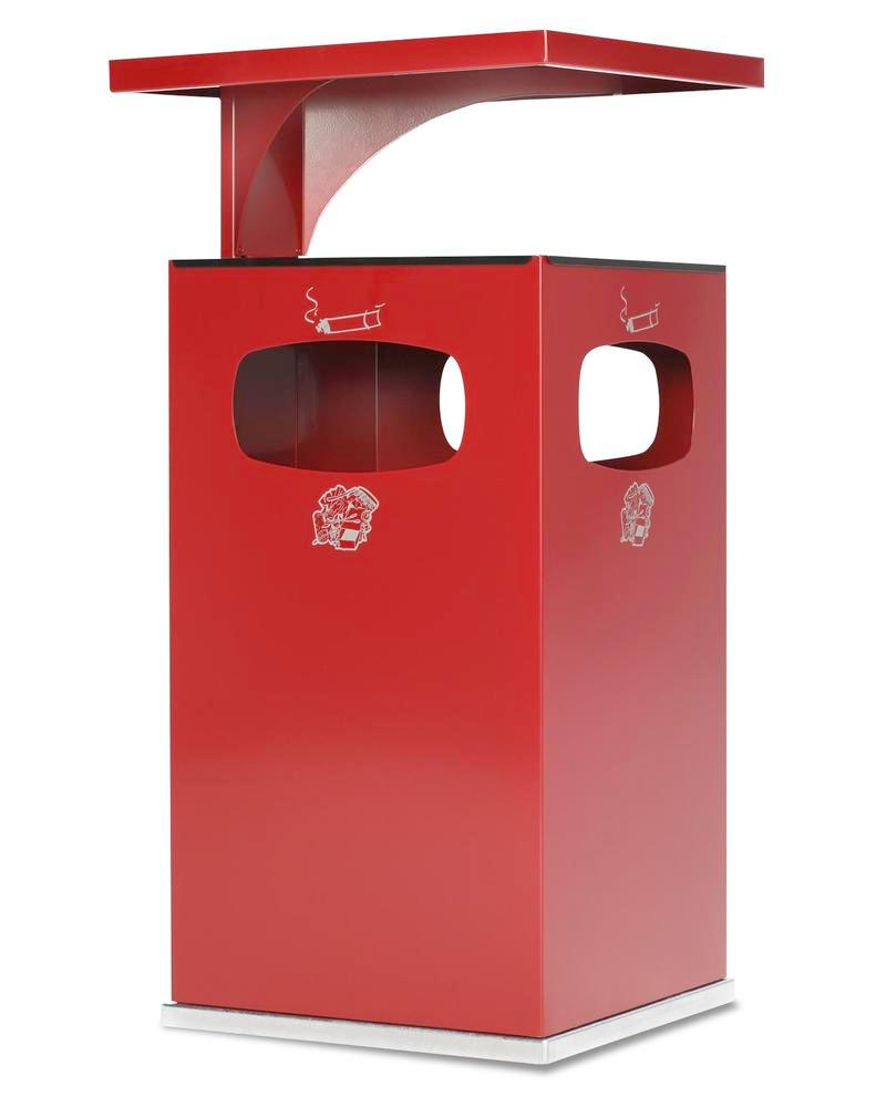 Combi waste bin / ashtray in steel, with removable cover f weather protection, 72l volume, red