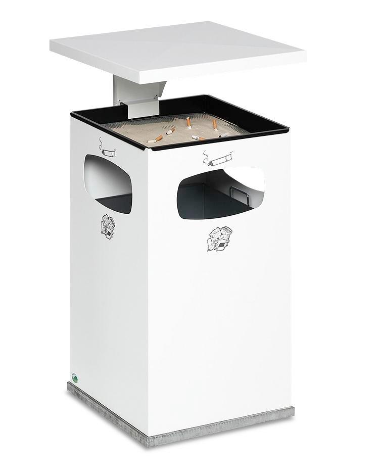Combi waste bin / ashtray in steel, with removable cover f weather protection, 72l volume, white