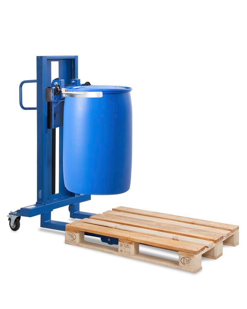 Drum lifter Servo model FL 8-SK, painted, for 205 litre drums, with a narrow wheel base