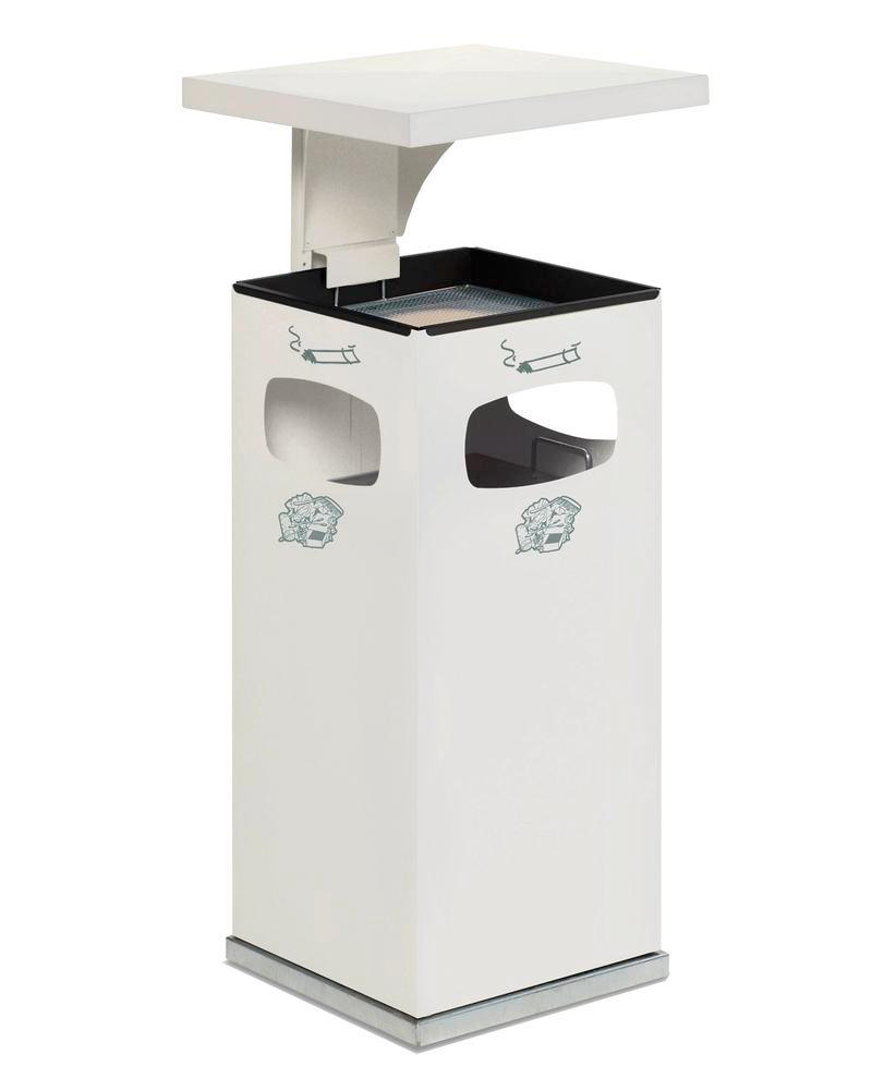 Waste bin/ash tray combination, steel, with removable protective hood, 38 litre capacity, white