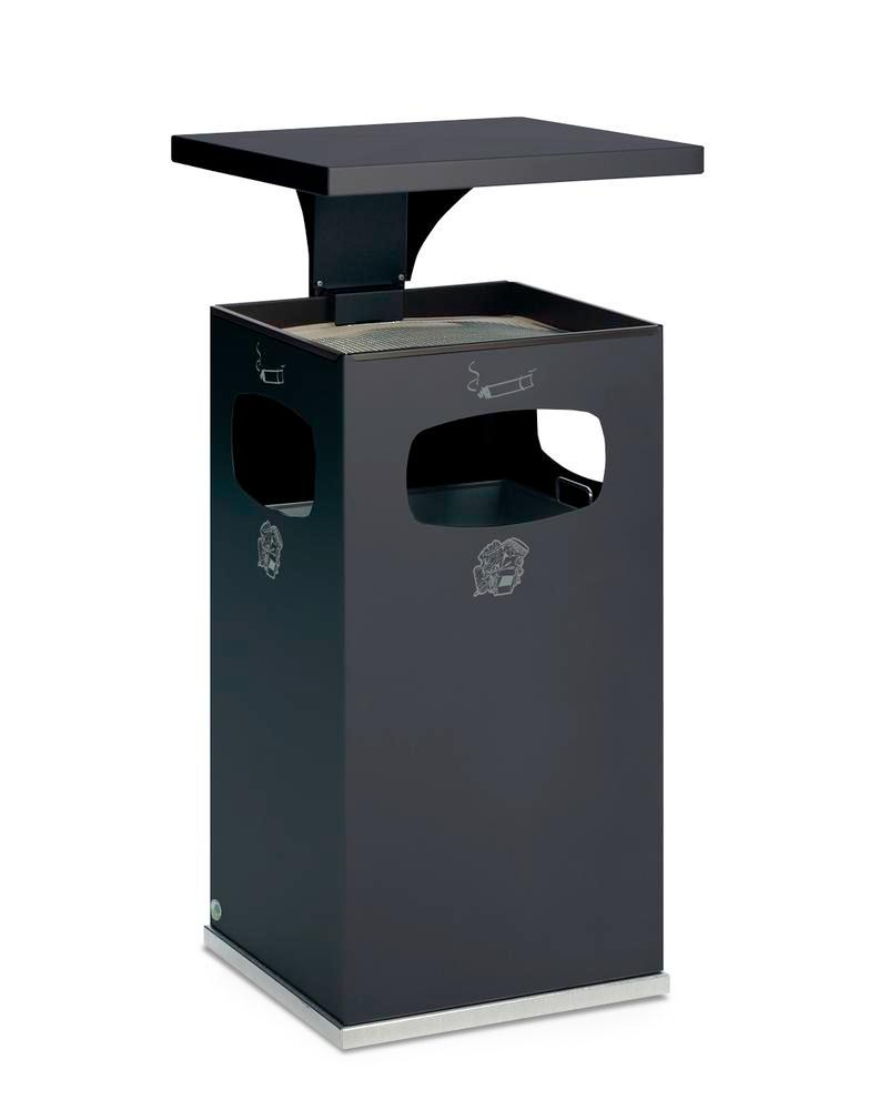 Waste bin/ash tray combination, steel, with removable protective hood, 72 litre capacity, dark grey