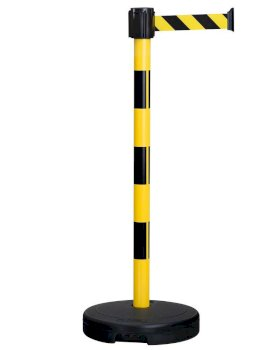 Tape barrier systems, belt length 3 M, black/yellow, can be used indoors and outdoors, plastic-w280px