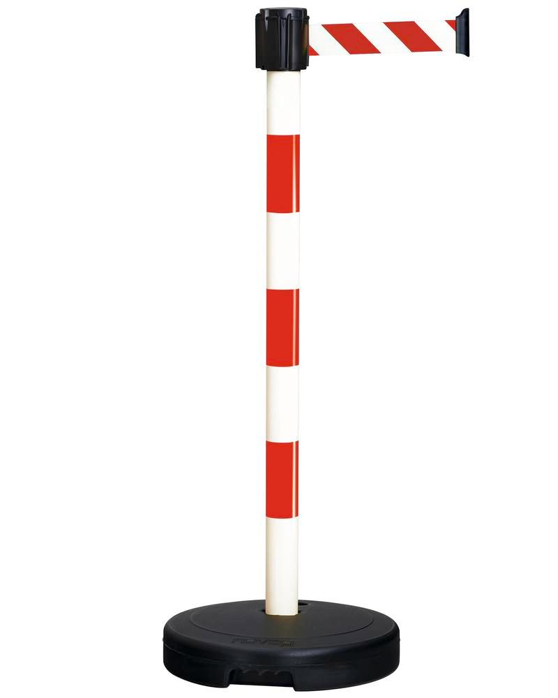 Tape barrier systems, belt length 3 M, red/white, can be used indoors and outdoors, plastic