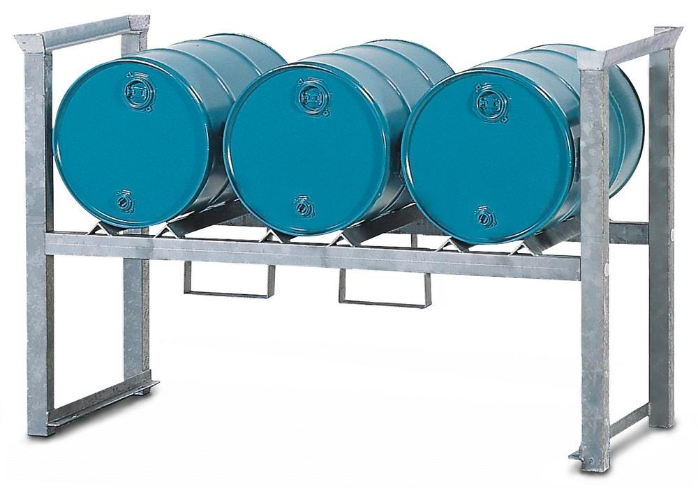 Stacking drum storage racks ARL 5 made from steel, galvanised, for 3 x 60-litre drums