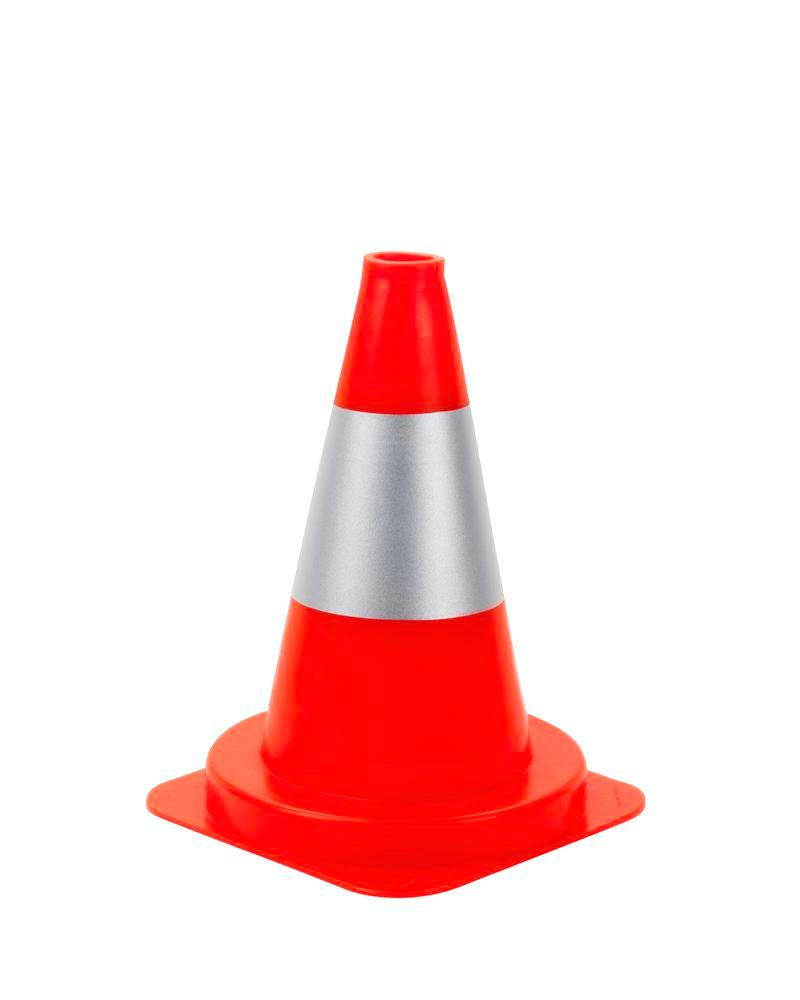 Traffic Cone, PVC, with 1 silver ring, reflective, height 300 mm