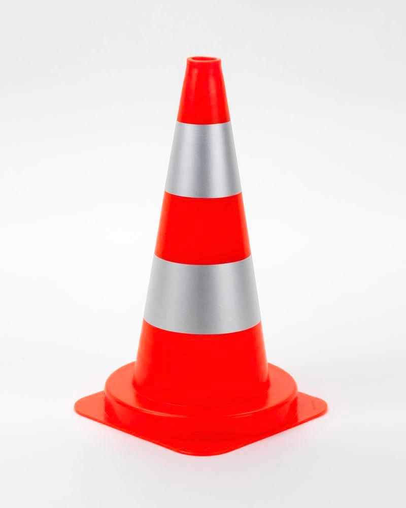 Traffic Cone, PVC, with 2 silver rings, reflective, height 500 mm