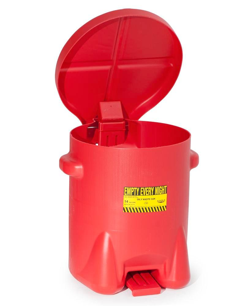 Disposal Container, polyethylene, with self-closing lid, 53 litre capacity, red