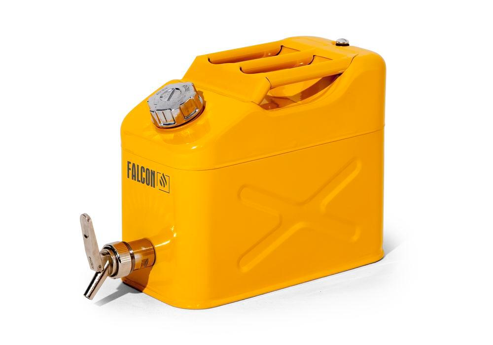 FALCON safety canister in steel, painted, with dispensing tap, 10 litres - 1