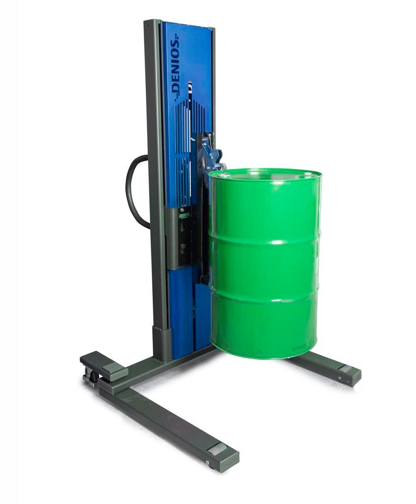 Secu drive drum lifter, wide wheelbase, H 2135 mm, model M for 60l/205l steel drums, electric lift