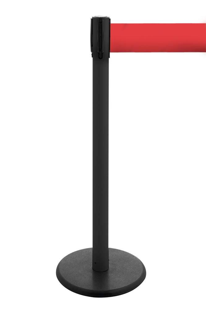 Tape barrier systems Traffico, Model 2.9, black posts, belt red, can be extended to 3.80