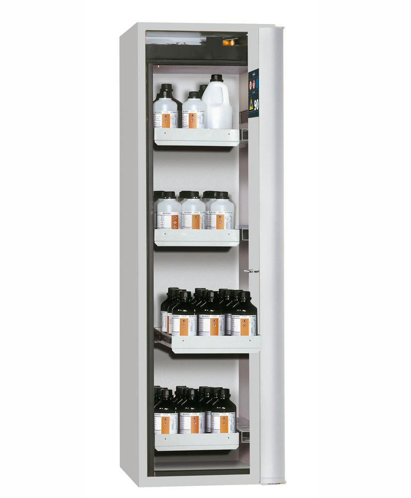 """Fire-rated HazMat cabinet GF-601,4""""one touch"""", 4 slide-out spill trays, door opens right, grey"""