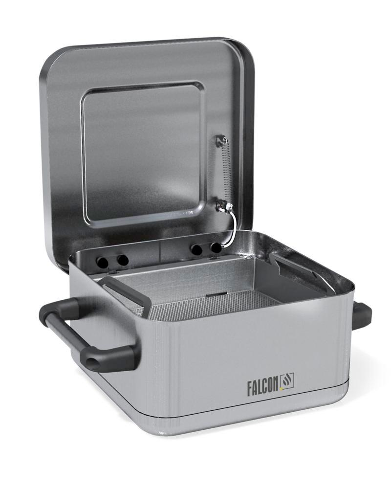 FALCON immersion containers for small parts cleaning, stainless steel, 8 litre volume