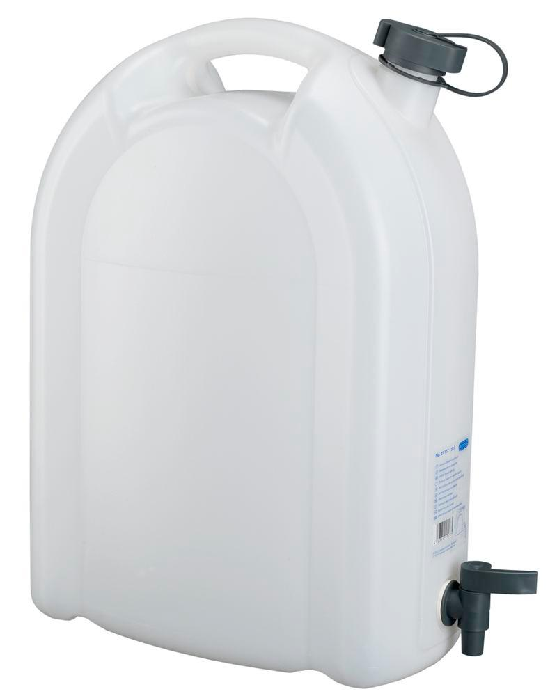Canister in plastic, transparent, with tap, 20 litres