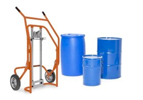 Drum trolley Secu Comfort, powder coated steel, solid rubber tyres, for steel/plastic drums-w280px