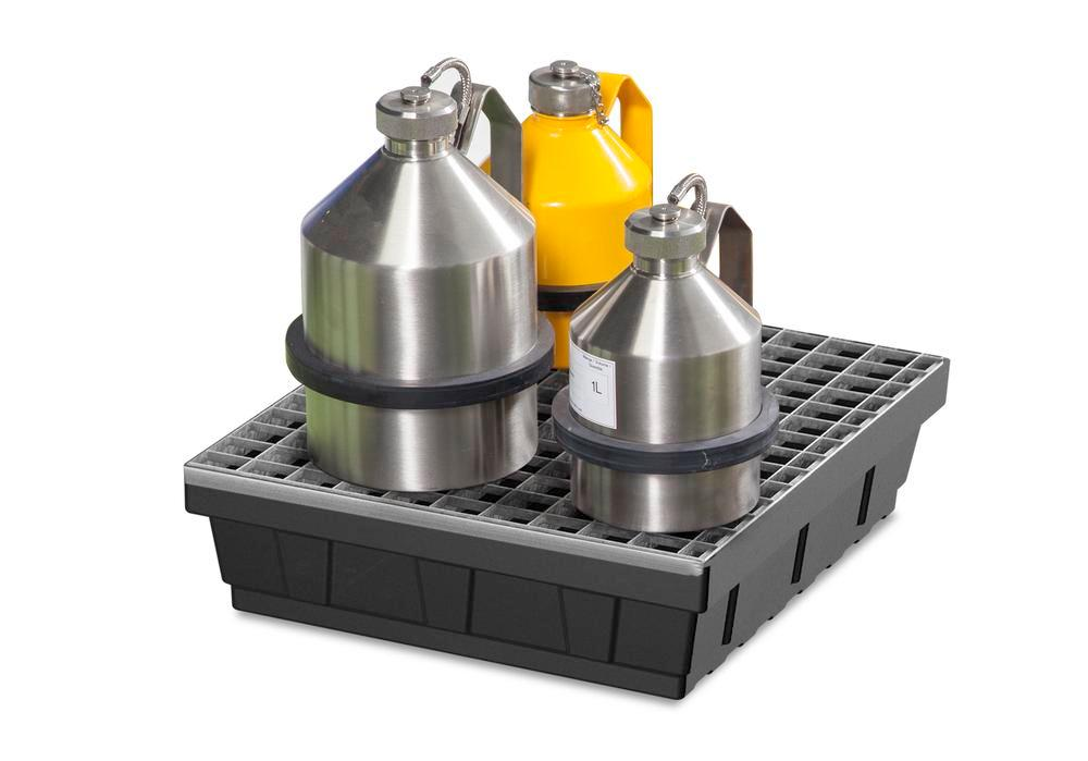 Spill tray for small containers base-line in polyethylene (PE) with galvanised grid, 15 litres