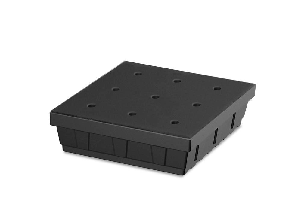 Spill tray for small containers base-line in polyethylene (PE) with PE grid, 15 litres