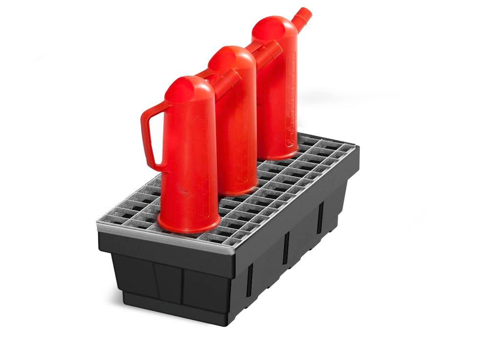 Spill tray for small containers EURO-P 7, in PE, with steel grid, containment volume 7 litres