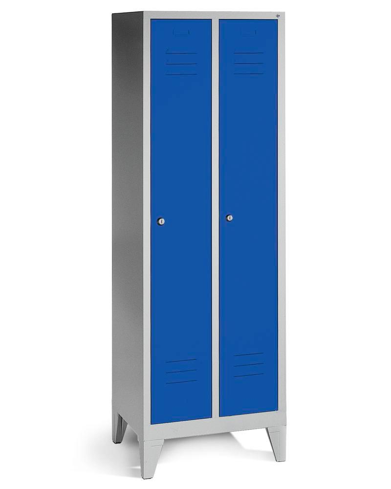 Locker Cabo, 2 compartments, W 610, D 500, H 1850 mm, with feet, grey/doors blue