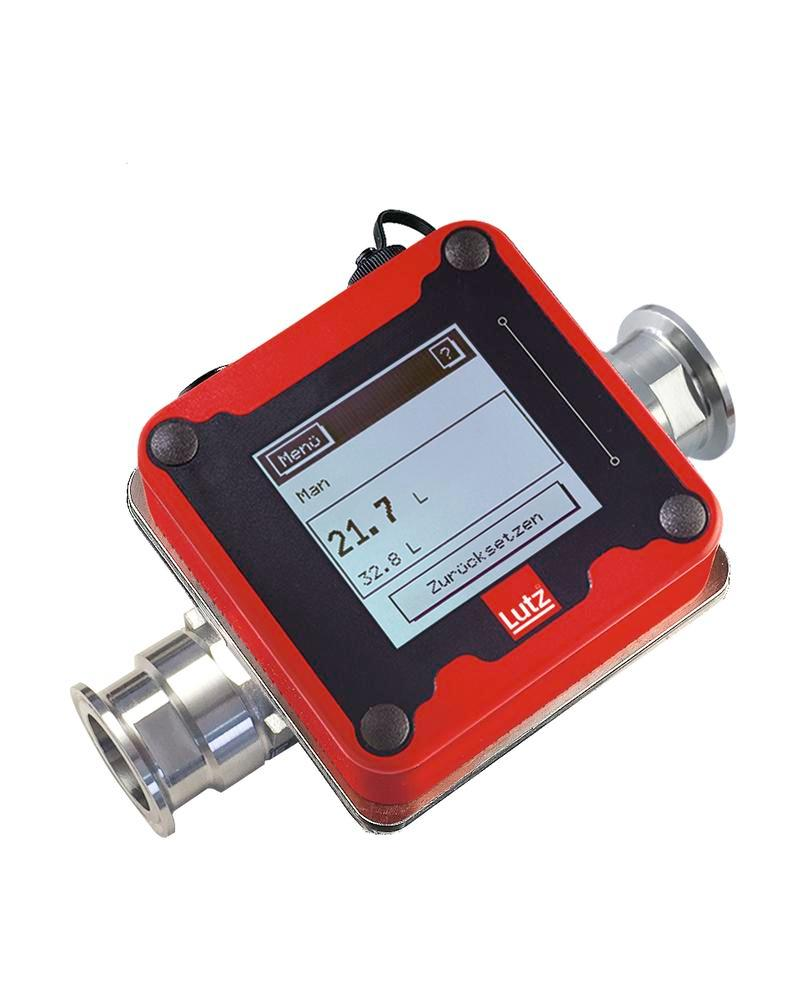 St. steel flowmeter for food use drum pumps, EU/FDA approval, Tri-Clamp DN32 connector, non-Ex