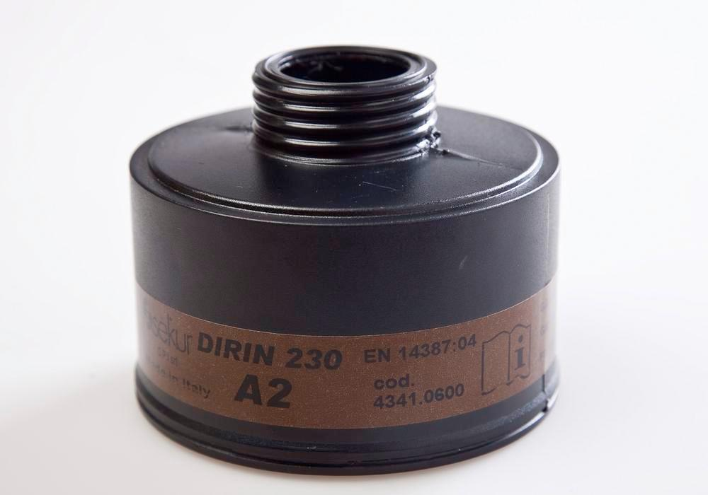 Particle filter DIRIN 230 A2 R, for fume protection masks 330, 607, 607 TR and SEFRA