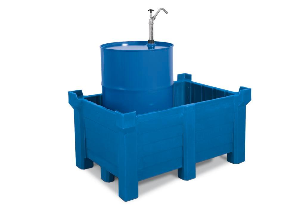Stackable container of polyethylene (PE) 300 litre contents, 280 litre capacity, blue