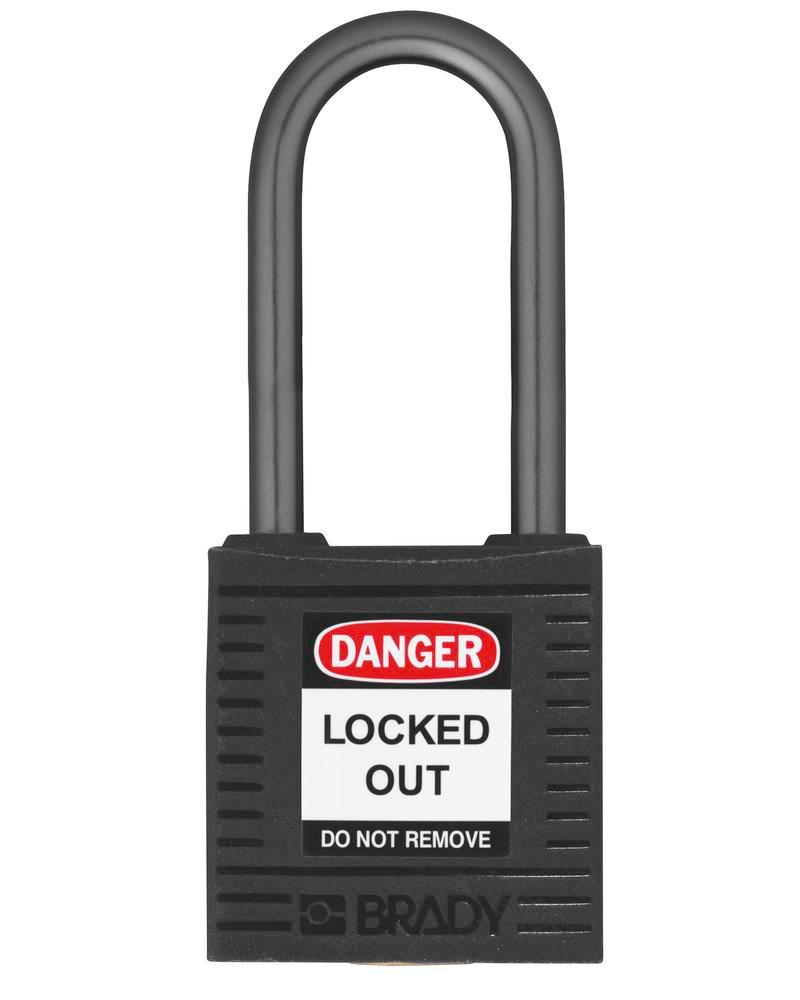 Compact safety lock, keyed different, clear shackle height 38 mm, black, 6 pcs.