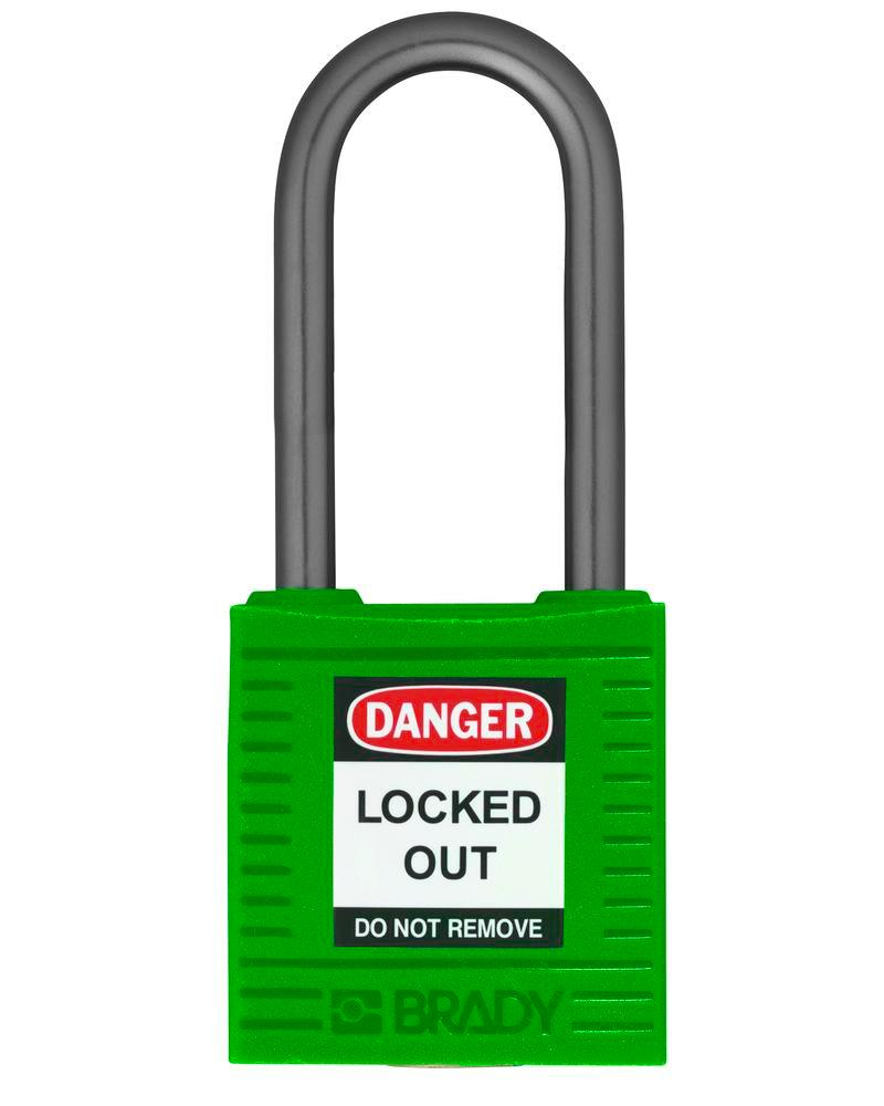 Compact safety lock, keyed different, clear shackle height 38 mm, green, 6 pcs.