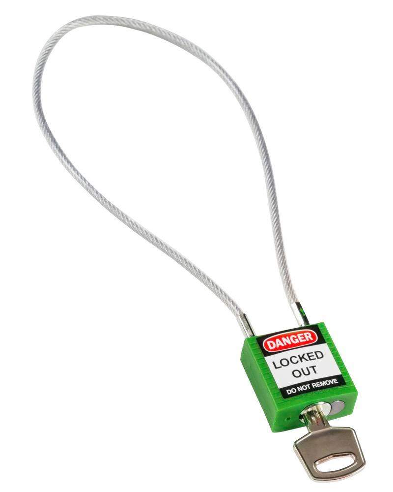 Compact security lock, keyed different, with cable loop 400 mm, green