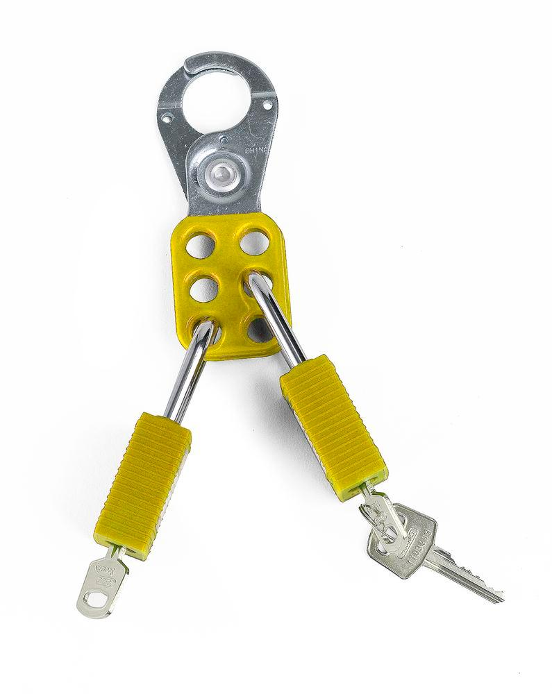 Multi-lock clips, yellow, Ring 38 mm, secure with up to 6 locks