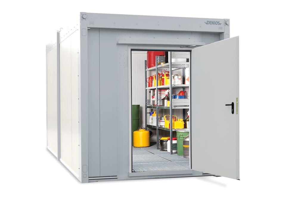 Walk-in fire-rated storage container WFP-X 10 with 1-wing door on the short side, 10 m²