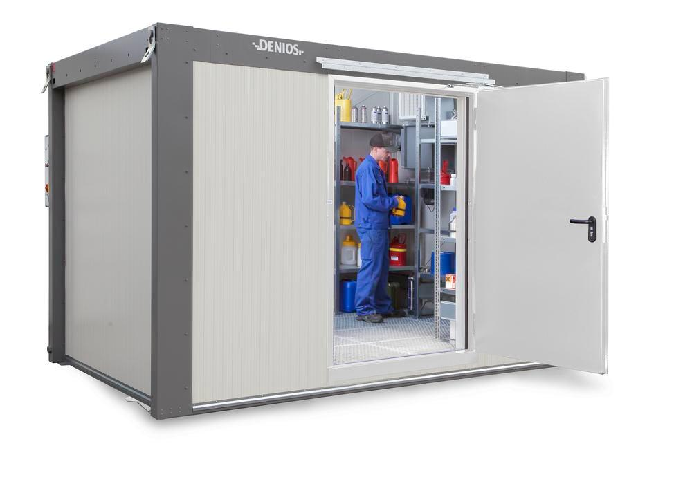 Walk-in fire-rated storage container WFP-X 14 with 1-wing door on the long side, centre, 14 m²