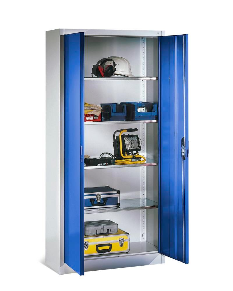 Tooling and equipment cabinet Cabo, with 4 shelves, W 1200, D 500, H 1950 mm, grey/blue