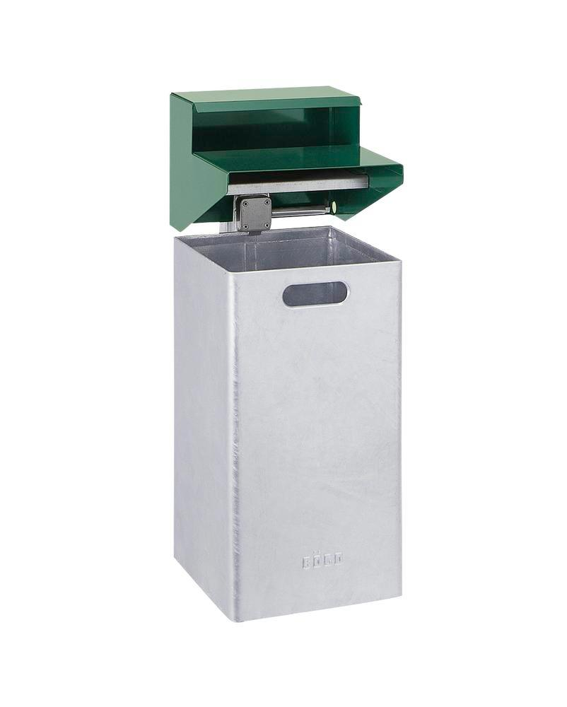 Waste bin, steel, weatherproof cover and ash tray, wall-mounted, 50 litre, green