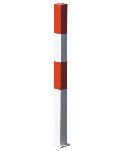 Barrier post, hot dip galv. and painted red-white, for concreting in, 70 x 70 mm, no chain eye