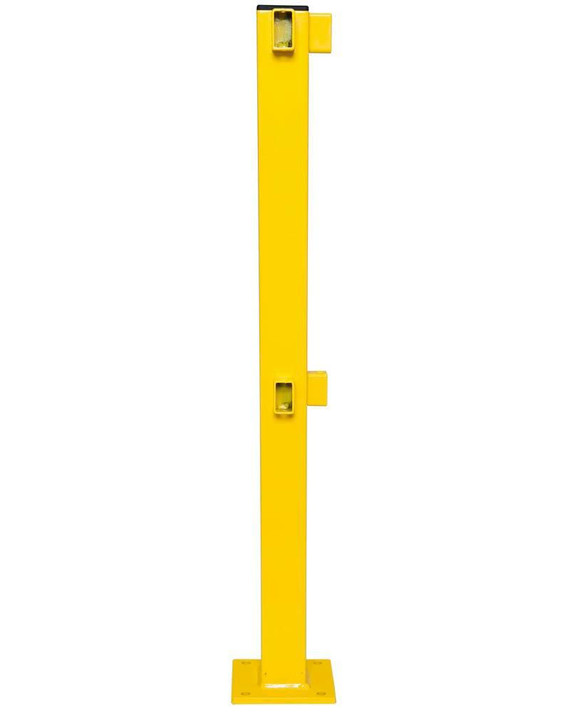 Corner post, plastic coated, for assembly with railings