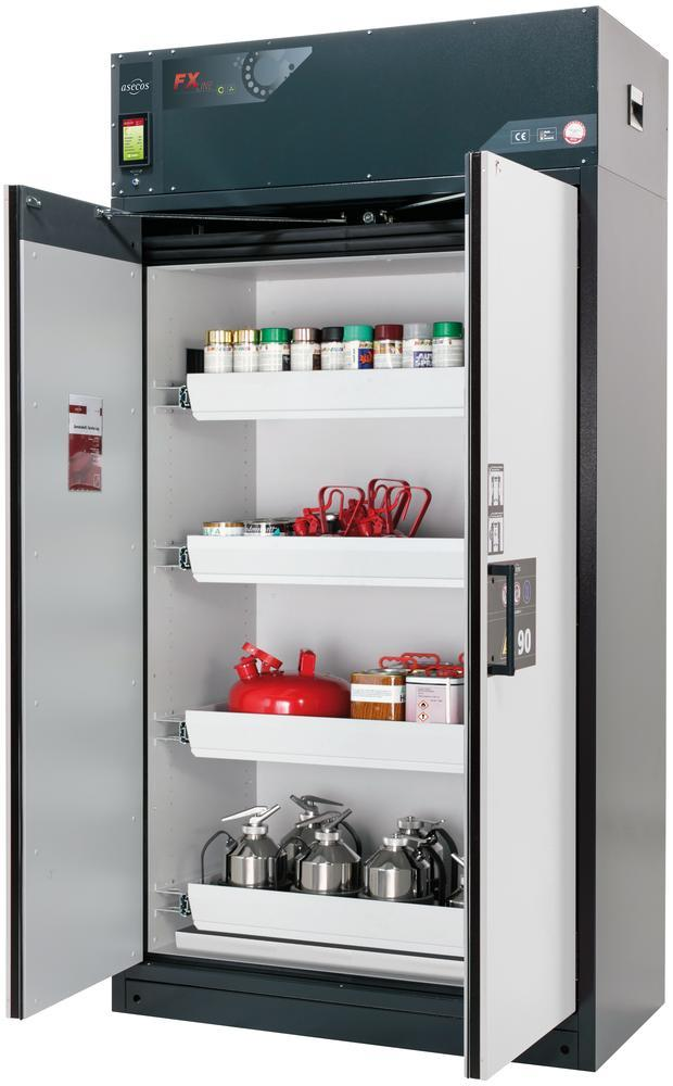 Fire-rated vent. HazMat cabinet Custos, doors grey, with 4 slide-out spill trays, Model E-124