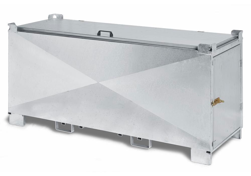 Safety container for fluorescent tubes with ADR transport approval, steel, door, hinged lid, L=2070