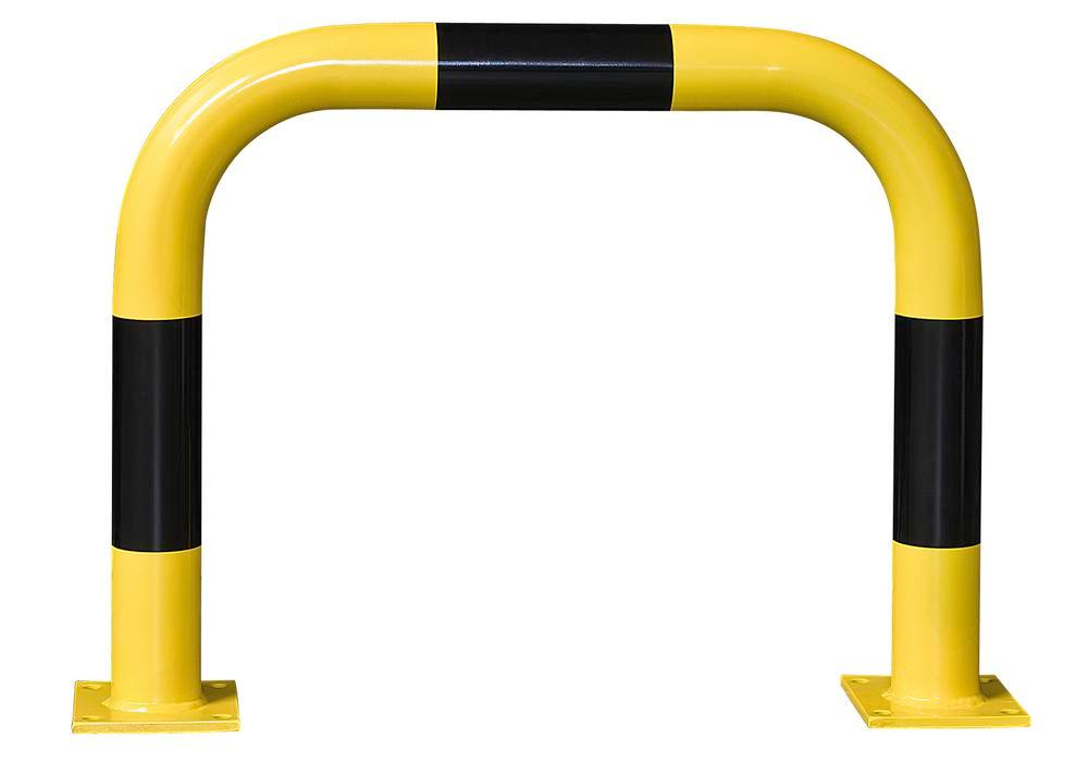 Steel barriers R 7.6, for external usage, hot dip galvanized, painted yellow and black